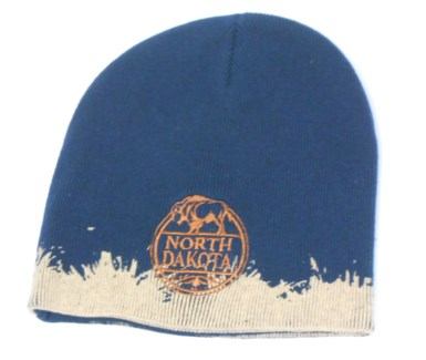 Navy ND Beanie W/ Round Buffalo